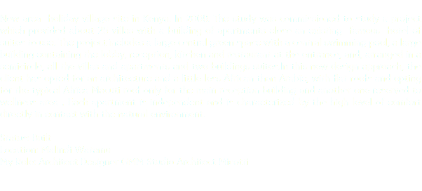 New area holiday village site in Kenya. In 2008. The study was commissioned to study a project which provided about 25 villas with a building of apartments close an existing famous hotel of suites to use. The project includes a large central green space with a central swimming pool, a large building containing the lobby, reception, kitchen and restaurant at the entrance, and, arranged in a semicircle, all the villas and apartments and two buildings suites.In this new design approach, the client has opted for an architecture and a little less African than Arabic, with flat roofs and opting for the typical Africa Macuti roof only for the main reception building and another one reserved to wellness area . Each apartment is independent and is characterized by the high level of comfort directly in contact with the natural environment. Status: Built Location: Malindi Watamu My Role: Architect Designer GMM Studio Architect Micotti